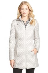 Petite Women's Laundry By Shelli Segal Ruched Waist Quilted Hooded Coat Pewter