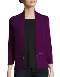 Ivanka Trump Zip Accented Knit Cardigan Boysenberry