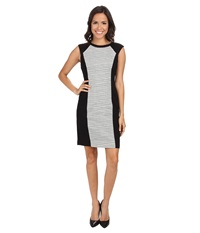 Nydj Willa Ponte Knit Jacquard Dress Black Women's Dress