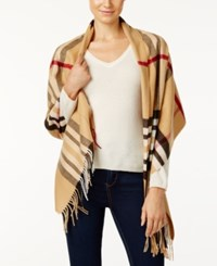 Charter Club Exploded Plaid Cashmink Blanket Scarf Only At Macy's Heather Camel