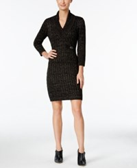 Calvin Klein Buckled Cable Knit Sweater Dress Black Silver