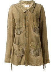 Faith Connexion Fringed Pocket Jacket Nude And Neutrals