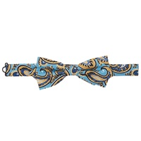 Peckham Rye Made In England Large Paisley Silk Bow Tie Blue