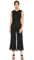 Monique Lhuillier Lace Split Back Jumpsuit Noir