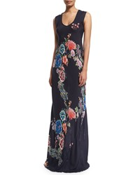 Johnny Was Augustine Sleeveless Floral Print Maxi Dress Multi Navy
