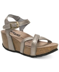Muk Luks Lillith Platform Wedge Sandals Women's Shoes Taupe Metallic