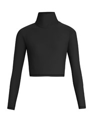 Salt Gypsy High Neck Cropped Performance Rash Guard Top Black