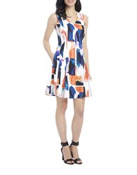 Ellen Tracy Abstract Watercolor Fit And Flare Dress White Multi