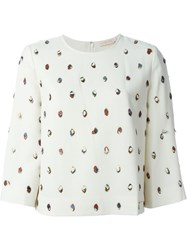 Tory Burch Embellished Boxy Blouse Nude And Neutrals