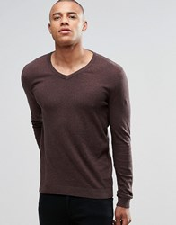 Asos V Neck Jumper In Navy And Tan Twist Cotton Tan And Navy Twist Brown