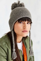 Urban Outfitters Knit Pompom Trapper Hat Grey