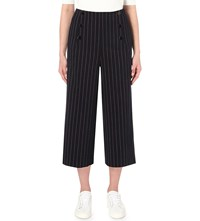 Moandco. Striped Wide Leg Gabardine Trousers Red And Blue