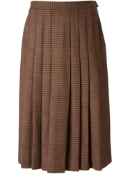 Givenchy Vintage Patterned Pleated Midi Skirt Multicolour