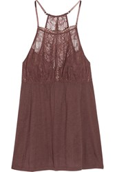 Eberjey Saskia Lace Trimmed Stretch Jersey Camisole Chocolate