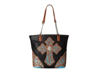 Mandf Western Glitter Cross Large Tote Bag Black Tote Handbags