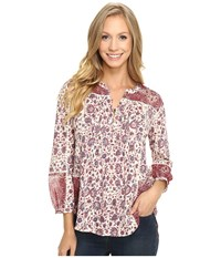 Lucky Brand Woven Mixed Floral Top Natural Multi Women's Clothing