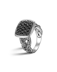 John Hardy Classic Chain Silver Lava Small Cushion Woven Shank Ring With Black Sapphires