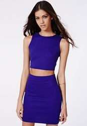 Missguided Ribbed Two Piece Bodycon Dress Cobalt Blue