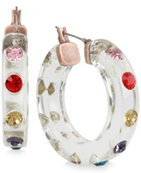 Betsey Johnson Copper Tone Crystal Studded Lucite Hoop Earrings Multi