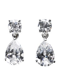 Crislu Sterling Silver Cubic Zirconia Pear Shaped Drop Earrings