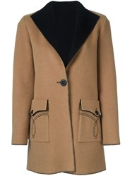 Fausto Puglisi Single Breasted Coat Nude And Neutrals