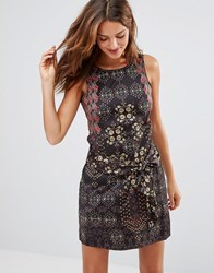 Lavand Dark Floral Print Dress Bk Black