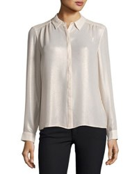 Laundry By Shelli Segal Washed Foil Button Down Top Gray Metallic