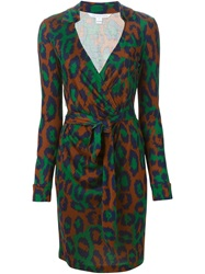 Diane Von Furstenberg Leopard Print Wrap Dress Green