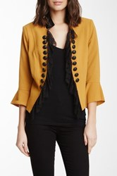 Insight Open Lace Front Crepe Jacket Metallic