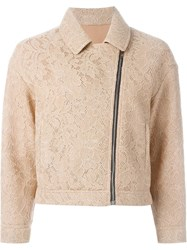 Msgm Floral Lace Mesh Biker Jacket Nude And Neutrals