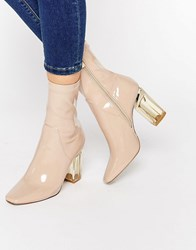 Public Desire Claudia Beige Clear Heel Ankle Boot Nude Patent