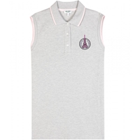 Kenzo Sleeveless Cotton Polo Shirt Pale Grey