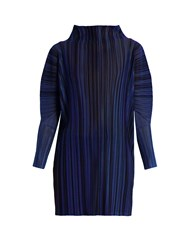 Issey Miyake High Neck Striped Pleated Top Blue Multi