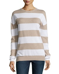 Minnie Rose Striped Long Sleeve Crewneck Sweater French Taupe