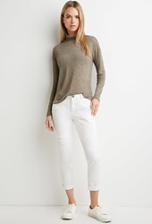 Forever 21 Life In Progress Distressed Skinny Jeans White