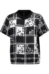 Mother Of Pearl Nell Printed Silk Crepe De Chine And Cotton Top Midnight Blue