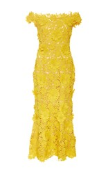 Naeem Khan Strapless Dandelion Sheath Midi Dress Yellow