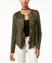 Inc International Concepts Ruffled Faux Suede Cardigan Only At Macy's Olive Drab