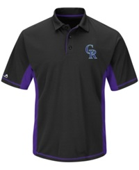 Majestic Men's Colorado Rockies Top Of The Inning Polo Black