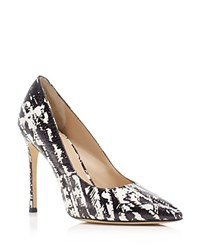 Pour La Victoire Celeste Snakeskin Embossed High Heel Pumps Black White