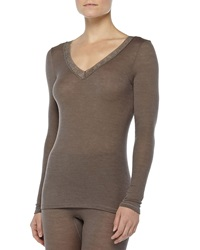 Hanro Long Sleeve Lace Trimmed Wool Silk Tee Dusty Olive