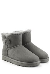 Ugg Australia Shearling Lined Suede Boots With Button Grey