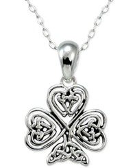 Macy's Filigree Clover Pendant Necklace In Sterling Silver
