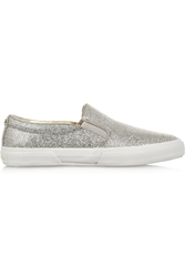 Michael Michael Kors Glitter Finished Canvas Slip On Sneakers Silver