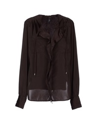 High Long Sleeve Shirts Dark Brown