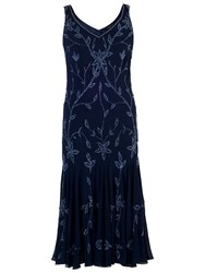 Chesca Allover Bead Dress Navy Lilac