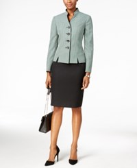 Le Suit Four Button Tweed Skirt Emerald Black