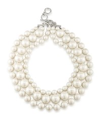 Carolee Faux Pearl Graduated Necklace Silver