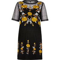 River Island Womens Black Embellished Mesh T Shirt Dress