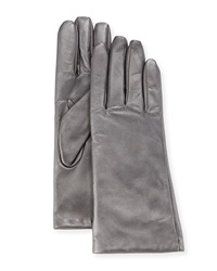 Neiman Marcus Basic Leather Tech Gloves Pewter